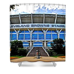 Cleveland Browns Stadium Shower Curtain by Frozen in Time Fine Art Photography