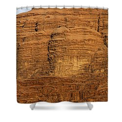 Close Up Of A Rocky Outcrop At Wadi Rum In Jordan Shower Curtain by Robert Preston