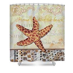 Coastal Decorative Starfish Painting Decorative Art By Megan Duncanson Shower Curtain by Megan Duncanson