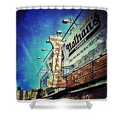 Coney Island Grub Shower Curtain by Natasha Marco