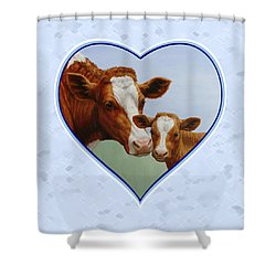 Cow And Calf Blue Heart Shower Curtain by Crista Forest
