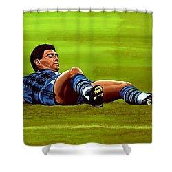 Diego Maradona Shower Curtain by Paul Meijering