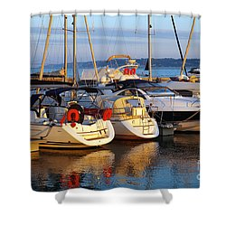 Docked Yachts Shower Curtain by Carlos Caetano