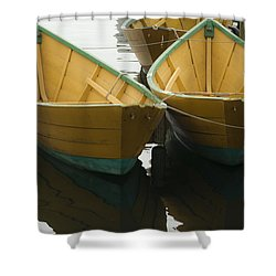 Dories At The Dock Shower Curtain by David Stone
