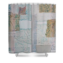 Double Doors Of Unfinished Projects In Blue  Shower Curtain by Asha Carolyn Young