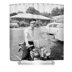 Elvis Presley Sitting On His 1956 Harley Kh Shower Curtain by The Harrington Collection