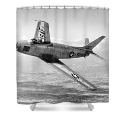 Shower Curtain featuring the photograph F-86 Sabre, First Swept-wing Fighter by Science Source