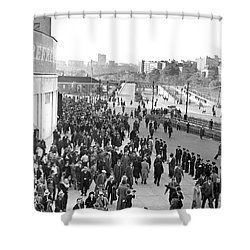 Fans Leaving Yankee Stadium. Shower Curtain by Underwood Archives