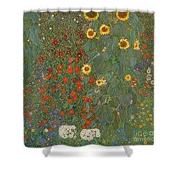 Farm Garden With Sunflowers Shower Curtain by Gustav Klimt