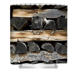 Firewood Stack Shower Curtain by Frank Tschakert