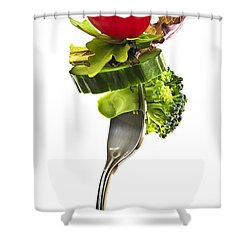 Fresh Vegetables On A Fork Shower Curtain by Elena Elisseeva