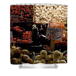 Fruits And Vegetables At A Market Shower Curtain by Panoramic Images