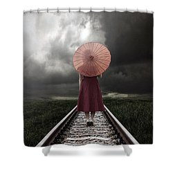 Girl On Tracks Shower Curtain by Joana Kruse