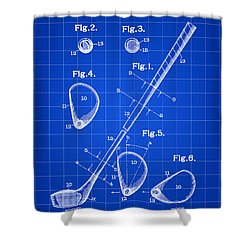 Golf Club Patent 1909 - Blue Shower Curtain by Stephen Younts