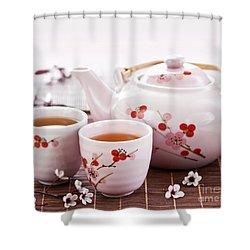Green Tea Set Shower Curtain by Elena Elisseeva