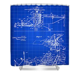 Helicopter Patent 1940 - Blue Shower Curtain by Stephen Younts
