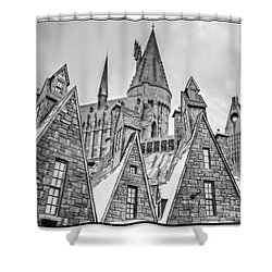 Postcard From Hogsmeade Shower Curtain by Edward Fielding