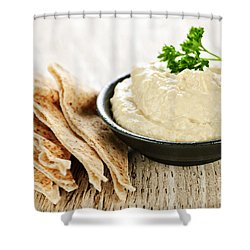 Hummus With Pita Bread Shower Curtain by Elena Elisseeva