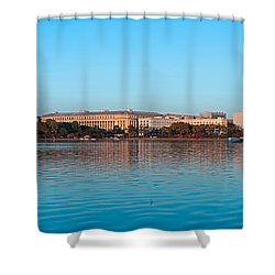 Jefferson Memorial And Washington Shower Curtain by Panoramic Images