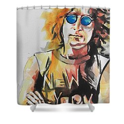 John Lennon 04 Shower Curtain by Chrisann Ellis