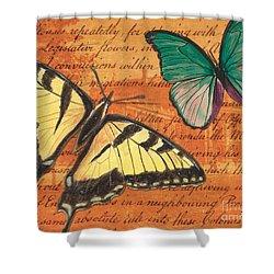 Le Papillon 3 Shower Curtain by Debbie DeWitt