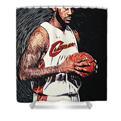Lebron James Shower Curtain by Taylan Apukovska