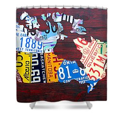 License Plate Map Of Canada Shower Curtain by Design Turnpike