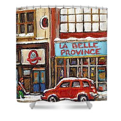 Mcleans Irish Pub Montreal Shower Curtain by Carole Spandau