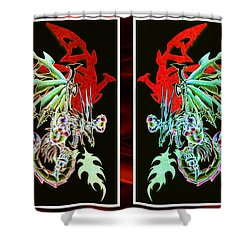 Mech Dragons Pastel Shower Curtain by Shawn Dall