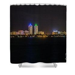 Millionaire's Row Miami Beach Skyline Shower Curtain by Rene Triay Photography