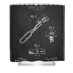 Monkey Wrench Patent Drawing From 1883 Shower Curtain by Aged Pixel