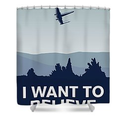 My I Want To Believe Minimal Poster-xwing Shower Curtain by Chungkong Art