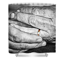 Old Hands With Wedding Band Shower Curtain by Elena Elisseeva