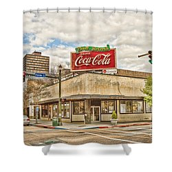 On The Corner Shower Curtain by Scott Pellegrin