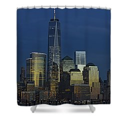 One World Trade Center At Twilight Shower Curtain by Susan Candelario