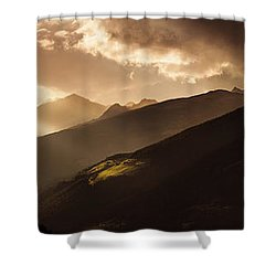 Panoramic View Of Dolomite Alps Shower Curtain by Evgeny Kuklev