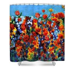 Red And Blue Shower Curtain by Regina Valluzzi