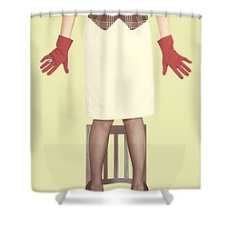 Red Gloves Shower Curtain by Joana Kruse