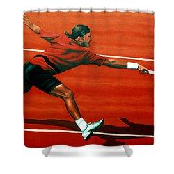 Roger Federer At Roland Garros Shower Curtain by Paul Meijering
