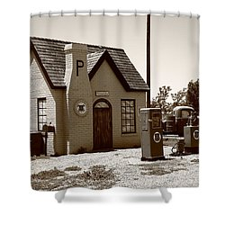 Route 66 - Phillips 66 Gas Station Shower Curtain by Frank Romeo