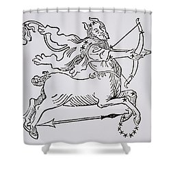 Sagittarius An Illustration Shower Curtain by Italian School