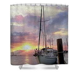 Sailboat Shower Curtain by Jon Neidert