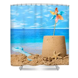 Sandcastle On Beach Shower Curtain by Amanda Elwell
