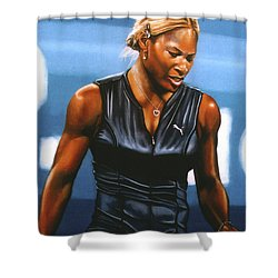 Serena Williams Shower Curtain by Paul Meijering