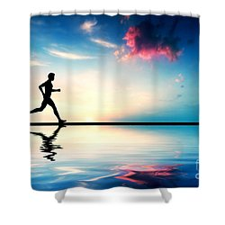 Silhouette Of Man Running At Sunset Shower Curtain by Michal Bednarek