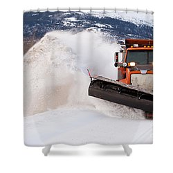 Snow Plough Clearing Road In Winter Storm Blizzard Shower Curtain by Stephan Pietzko