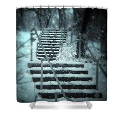 Snowy Stairway Shower Curtain by Jill Battaglia