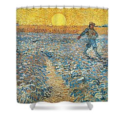 Sower Shower Curtain by Vincent van Gogh