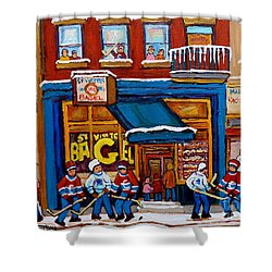 St. Viateur Bagel With Hockey Shower Curtain by Carole Spandau