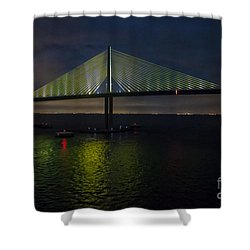 Sunshine Skyway Bridge Tampa Florida Shower Curtain by Rene Triay Photography
